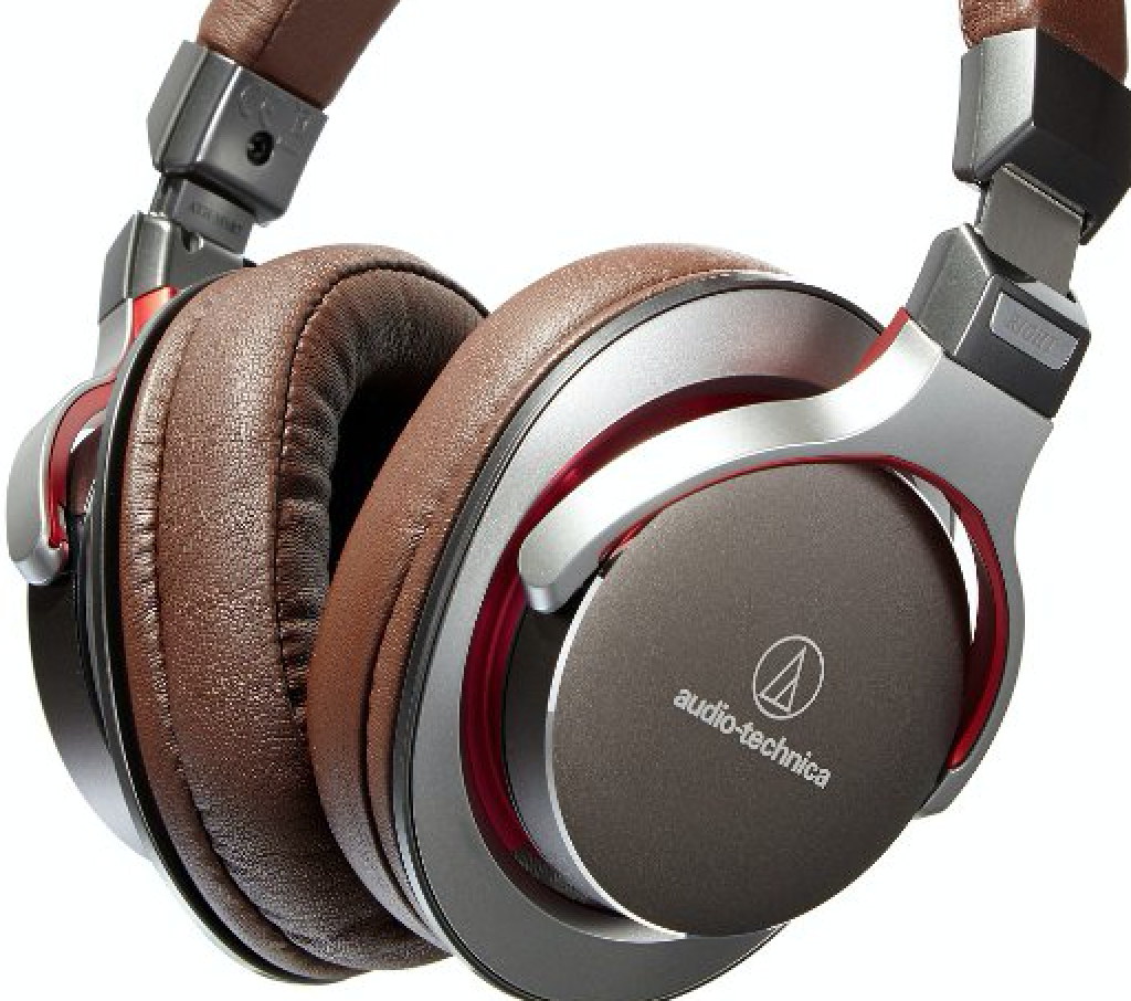 The Audio Technica ATH-MSR7 headphones in brown leather.