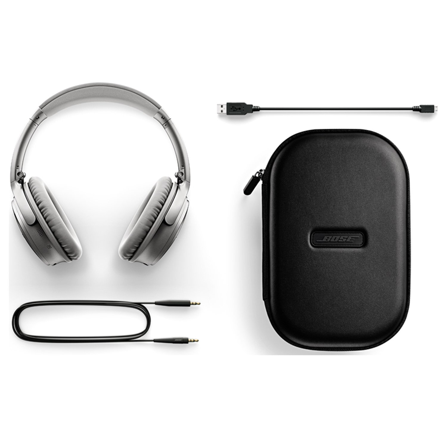 Bose QC35 with headphone cable, charging cable and travel case.