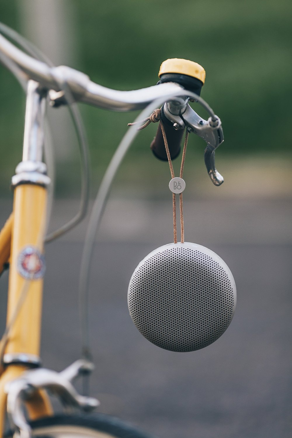 Inbuilt lanyard on B&O Beoplay A1 makes it the perfect bluetooth travel speaker.