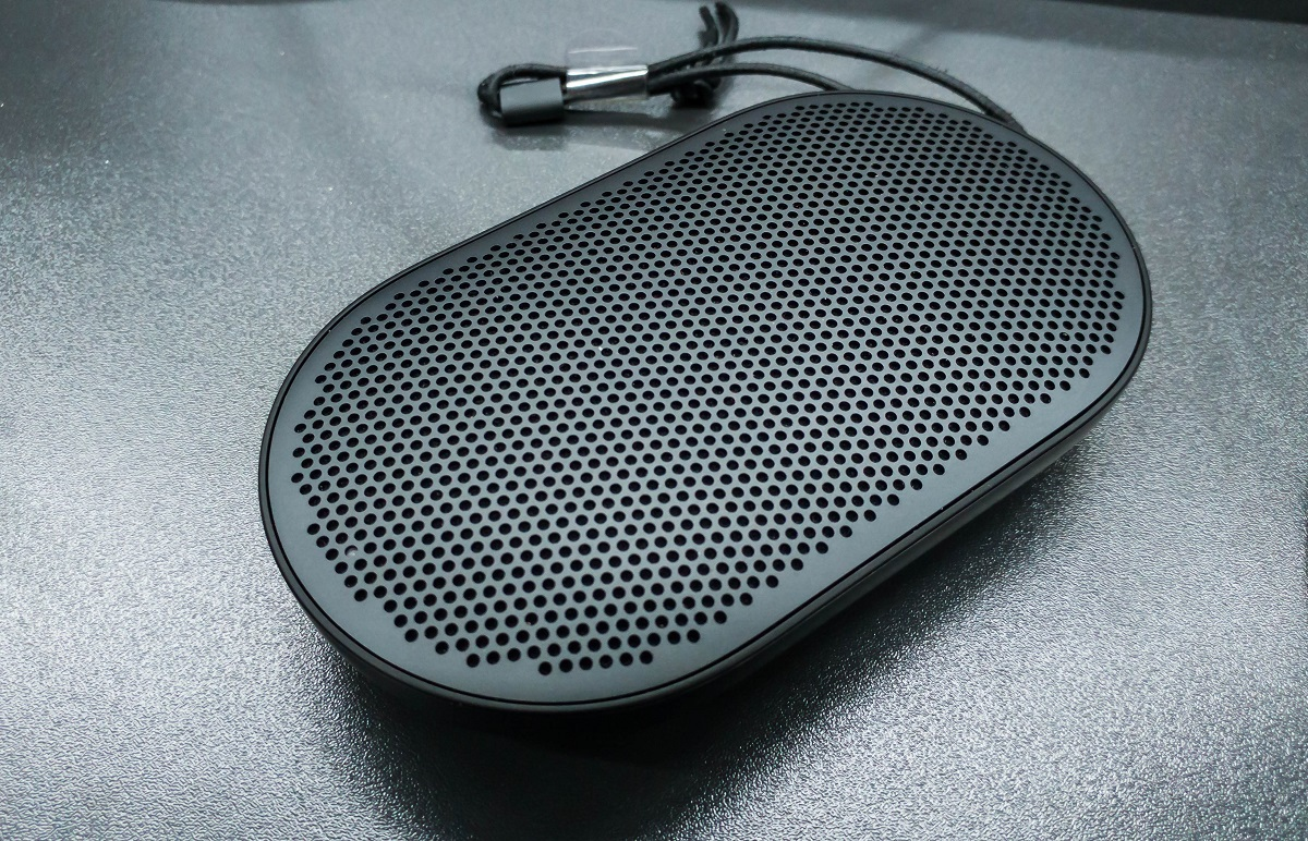 The top view of the B&O Beoplay P2 speaker from Bang & Olufsen.