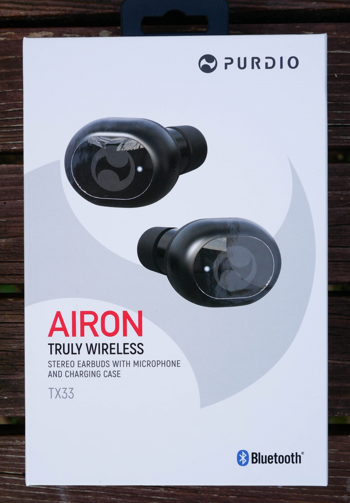 Retail Packaging for the Purdio Airon wireless earphones from Odoyo.