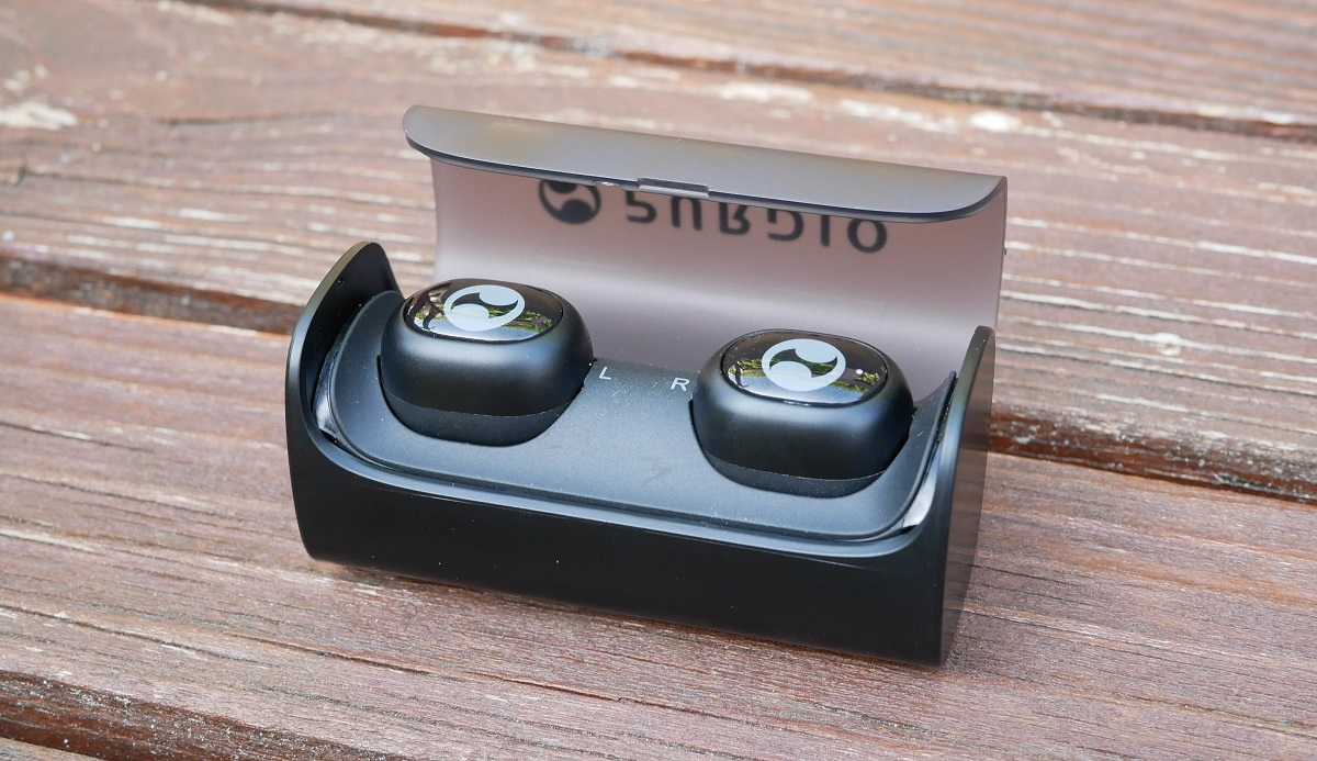 Purdio Airon from Odoyo in their carry case which also doubles up as the charging unit. Its a great way to store and charge the earbuds whilst not in use.