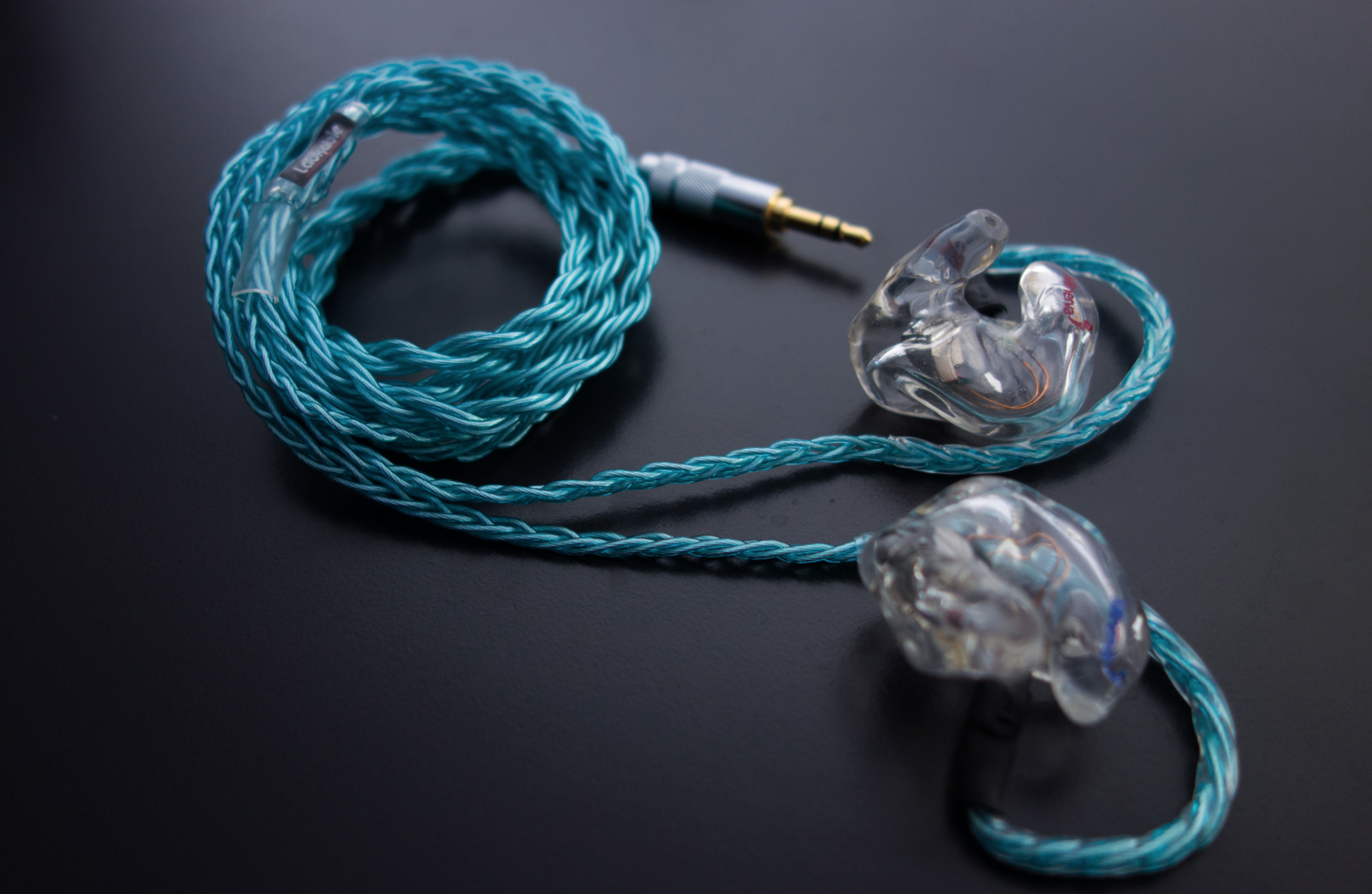 My own Minerva custom in ear monitors with a custom Blue Horizon cable from Labkable.
