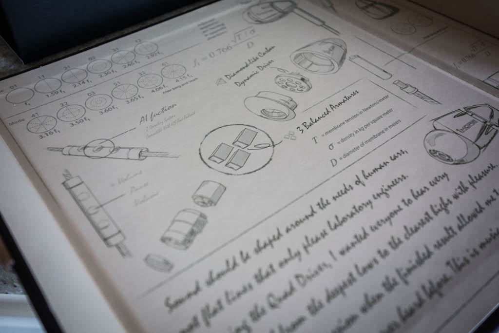 The inside of the Quad Driver's packaging is covered in draft design drawings that show the internal construction of the earphones.