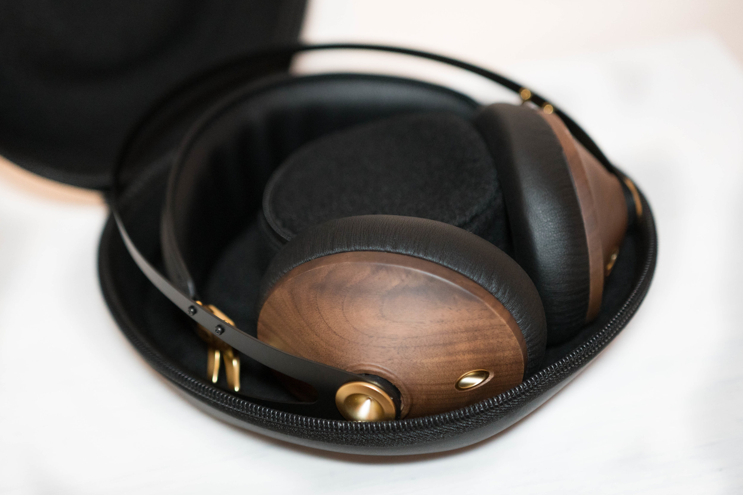 Headphones fit perfectly in the custom case and there is a small soft inner case for cables and accessories.