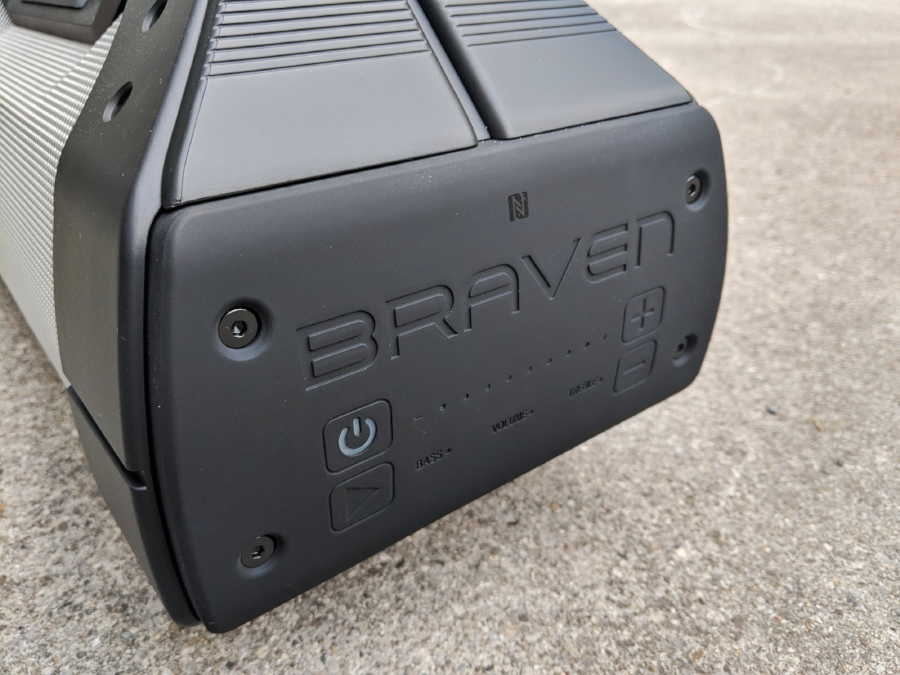 Braven XXL Bluetooth speaker with hard button volume and music playback controls built in.