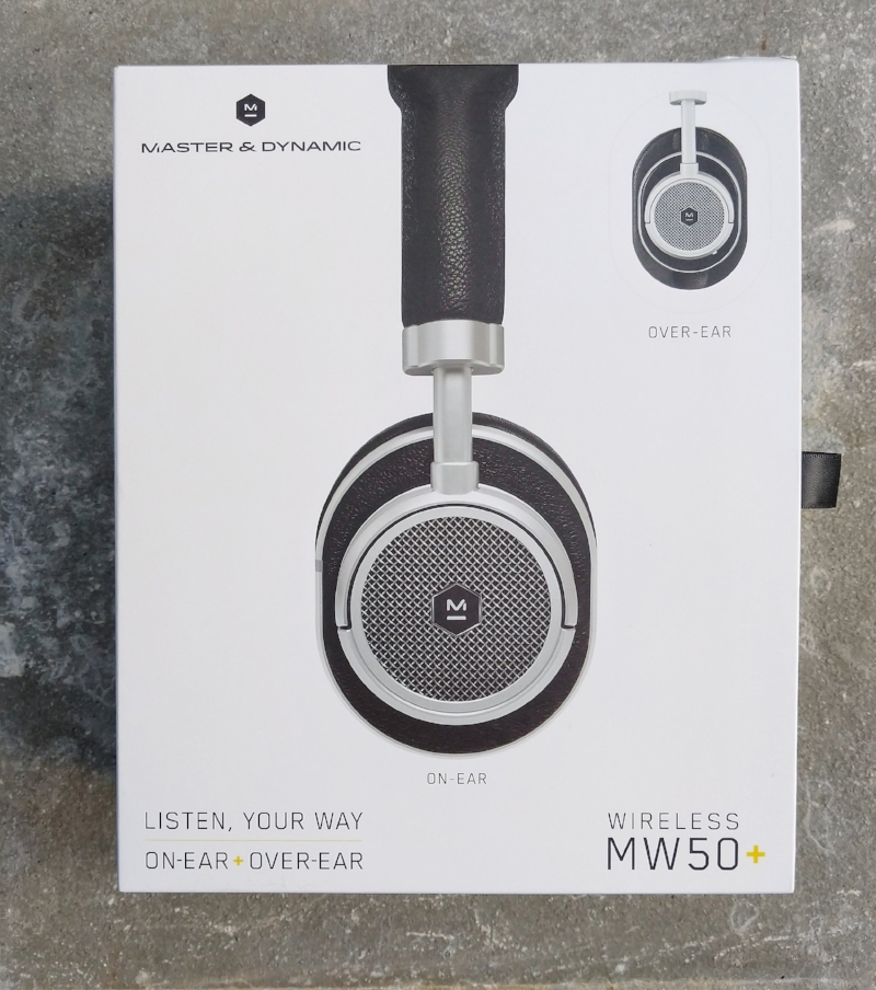 Master & Dynamic MW50 headphone box.