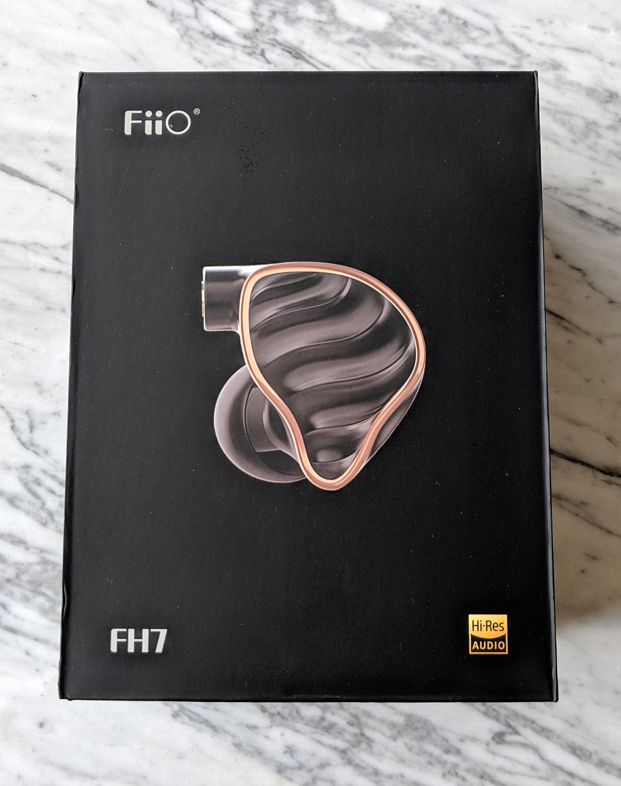 The box for the Fiio FH7 earphones.