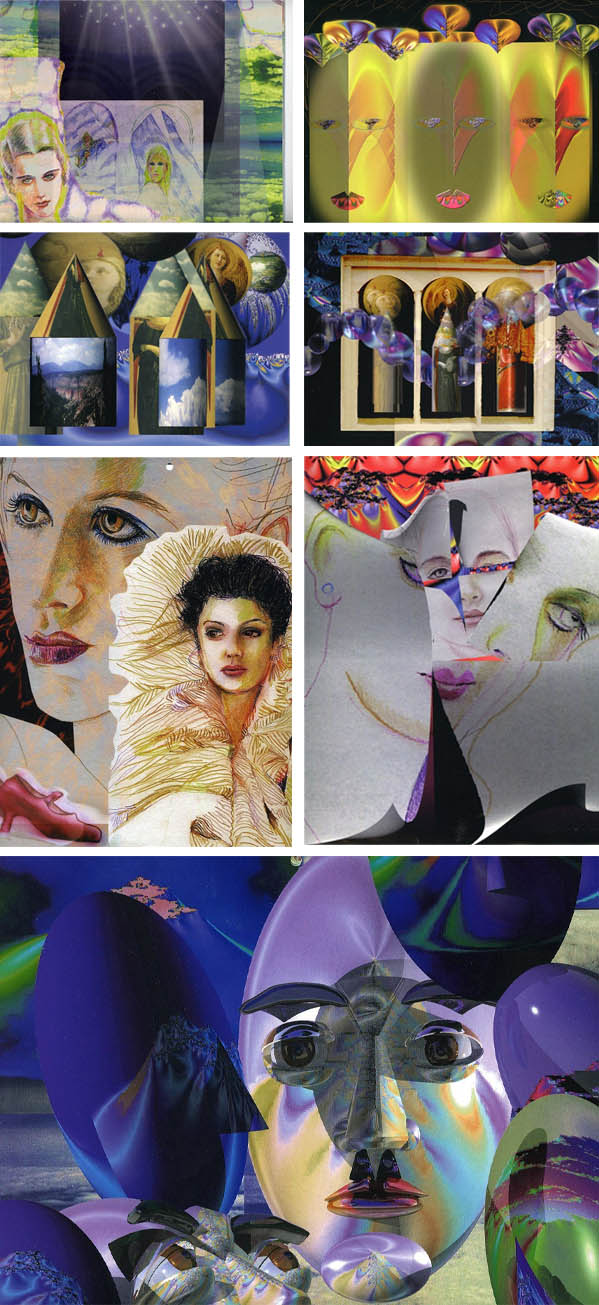 """Calendar covers titled """"Sisters"""" are part of a series of calendars that combinedfractal software illustration and colored pencil. Published by Amber Lotus in Oakland,CA."""