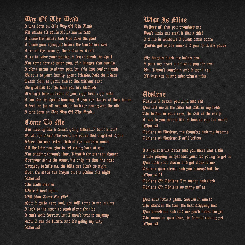 BOTDOTD Lyric Book Sample, 2012