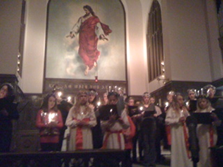 The Nashville Belles join the Swedish-American Families of Nashville at the First Annual Sankta Lucia Celebration on December 13, 2013, at First Lutheran Church in downtown Nashville. TN.