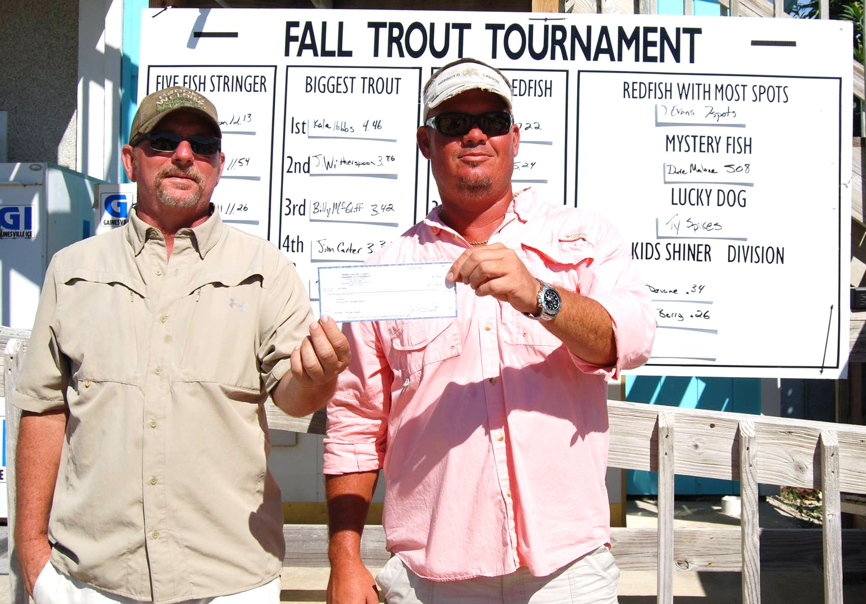 Paul Wilson and Jason Witherspoon accepting a $1000 check for first place in the 3rd annual Taylor County Fall Trout tourney Saturday, September 13 .