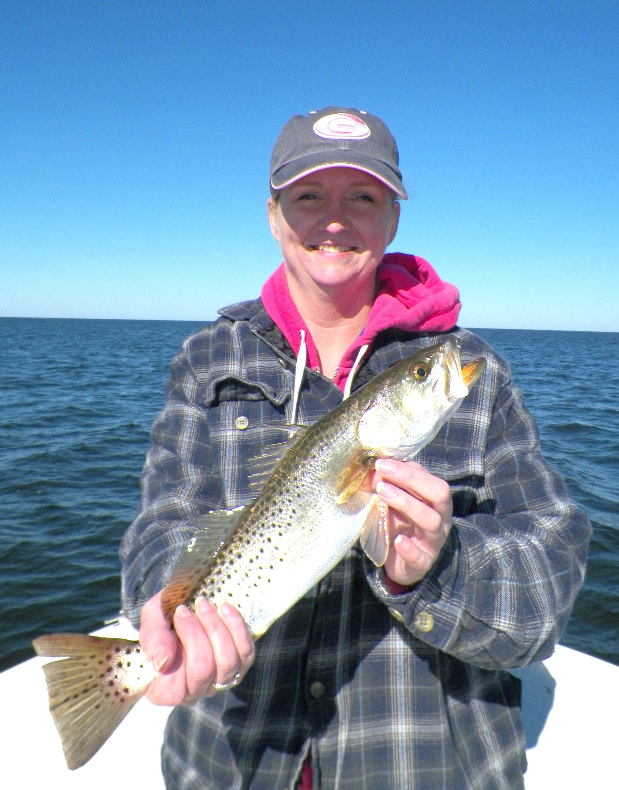 Chrissie Queen with her first-ever Speckled Trout