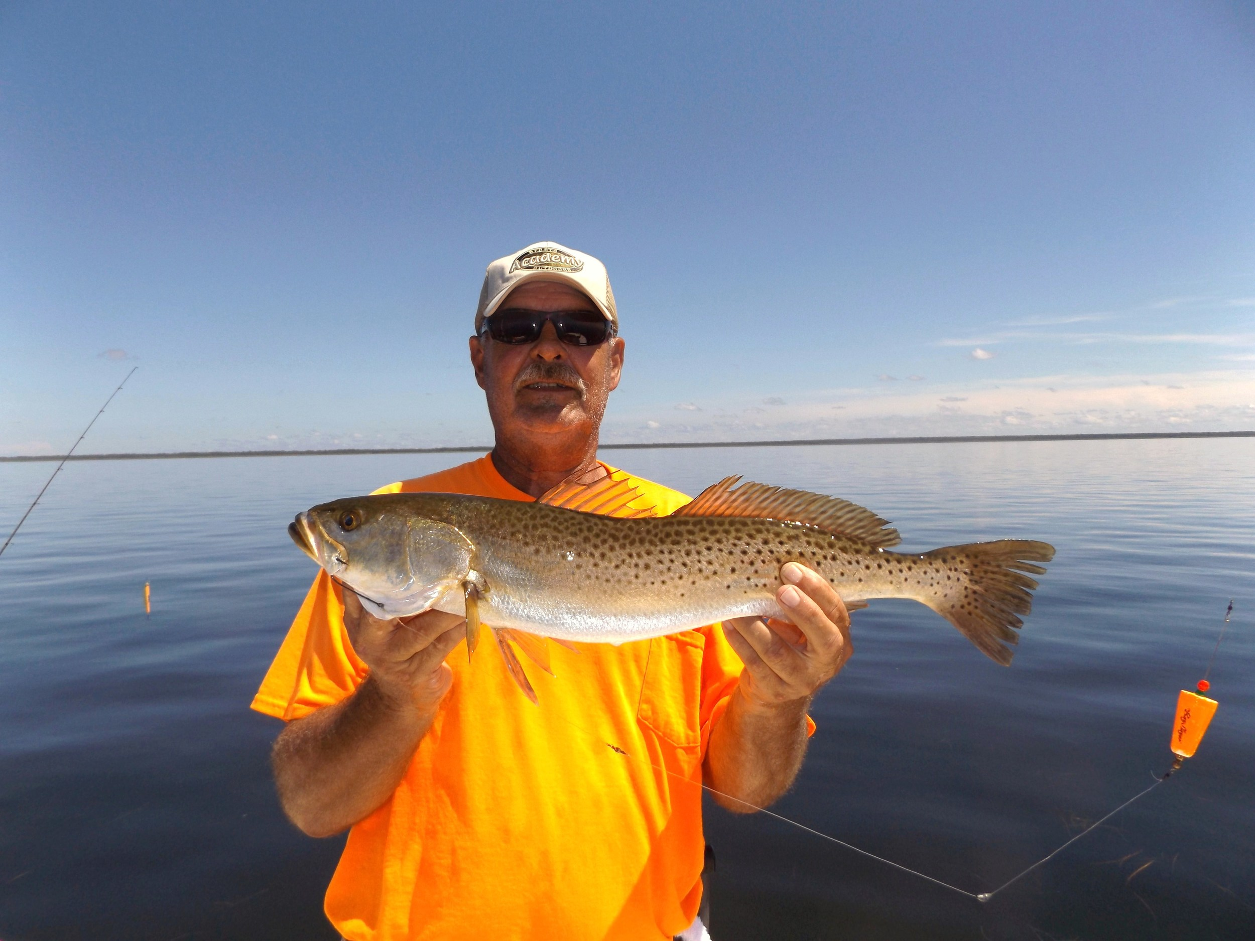 "CAPT. DVE MALONE WITH A FINE 24"" TROUT CAUGHT 8/30/15"