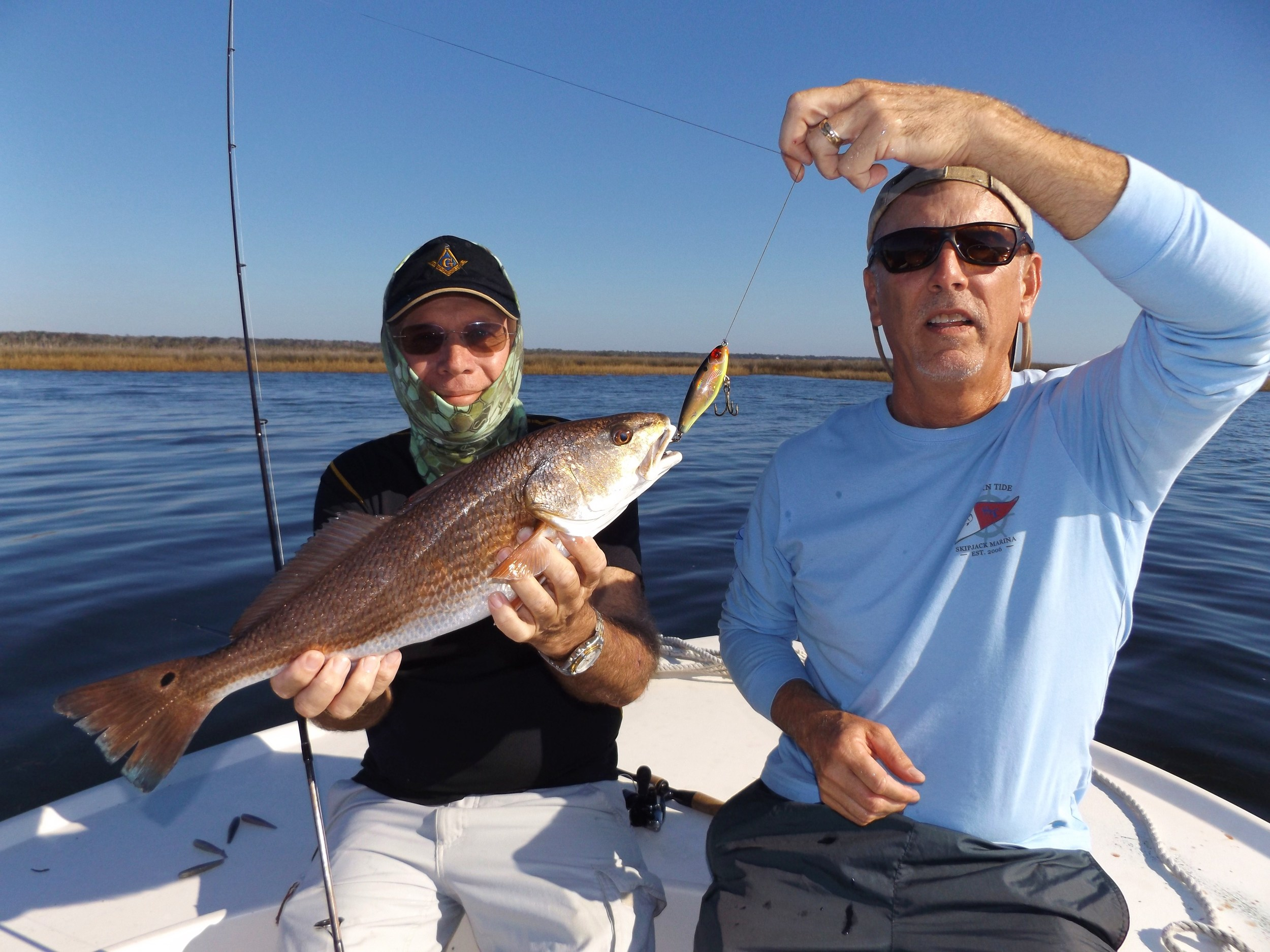 Bob Swiger ( with the red) and his Pal Tom windram , both of Charlotte Harbor, Fl. ([note the 27Xl BKGCH MirrOdine]