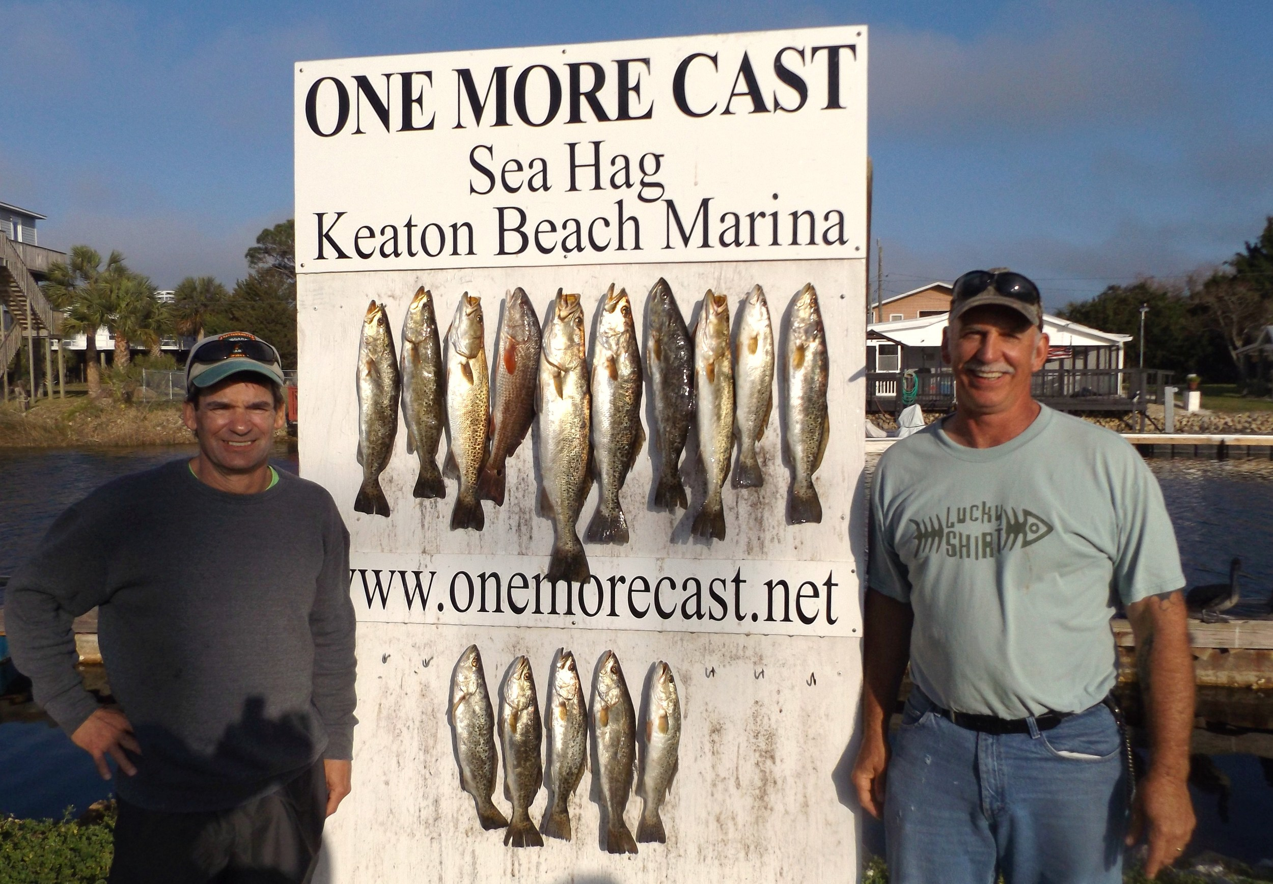 Ted Grumbein of Pennsylvania and Richard Taylor of Perry, Florida with a great board of fish taken 3/14/16