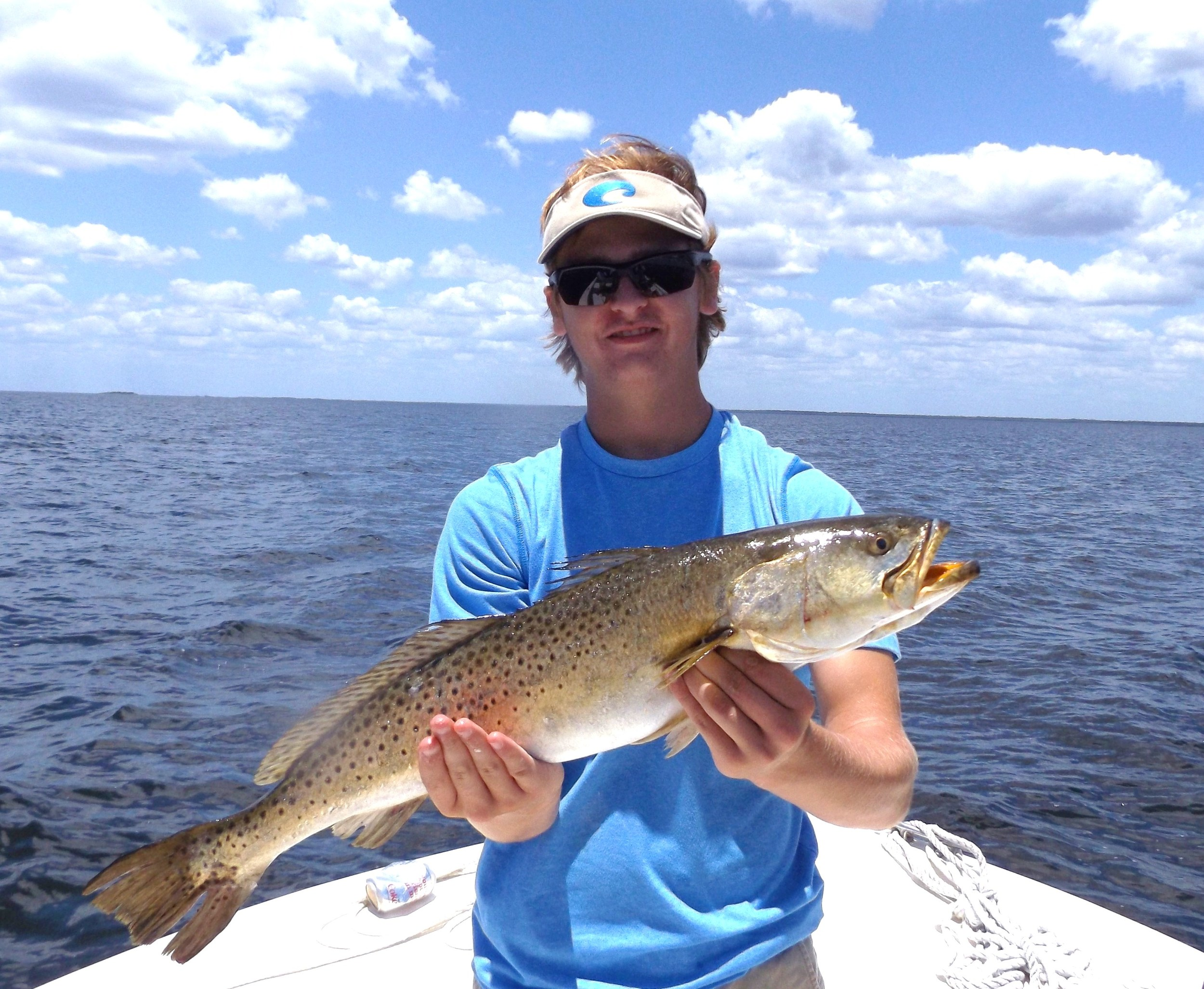 """colby smith with a 26.5 """" 5.1 pound trout 6/20/2016"""