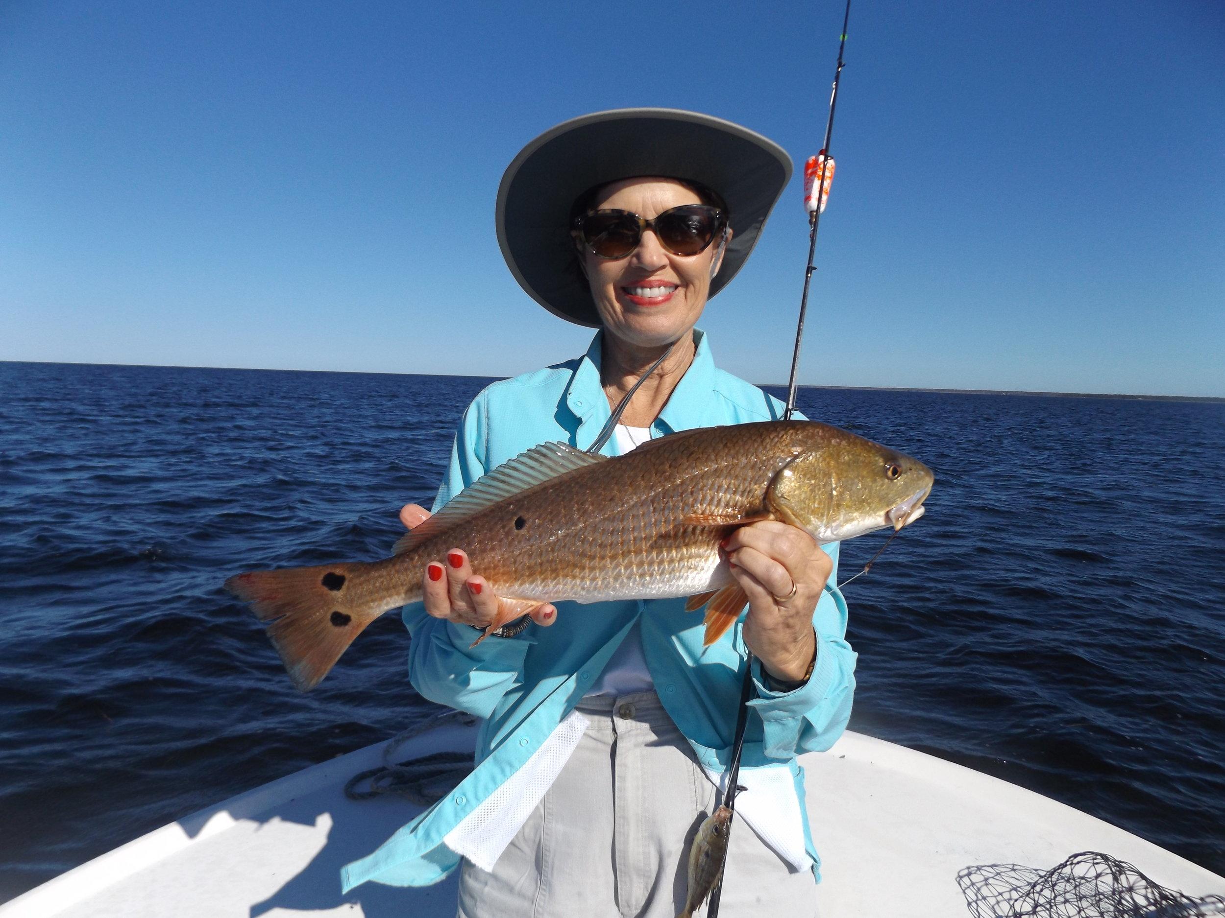 jean Seago of Valdosta, Ga with a grand redfish
