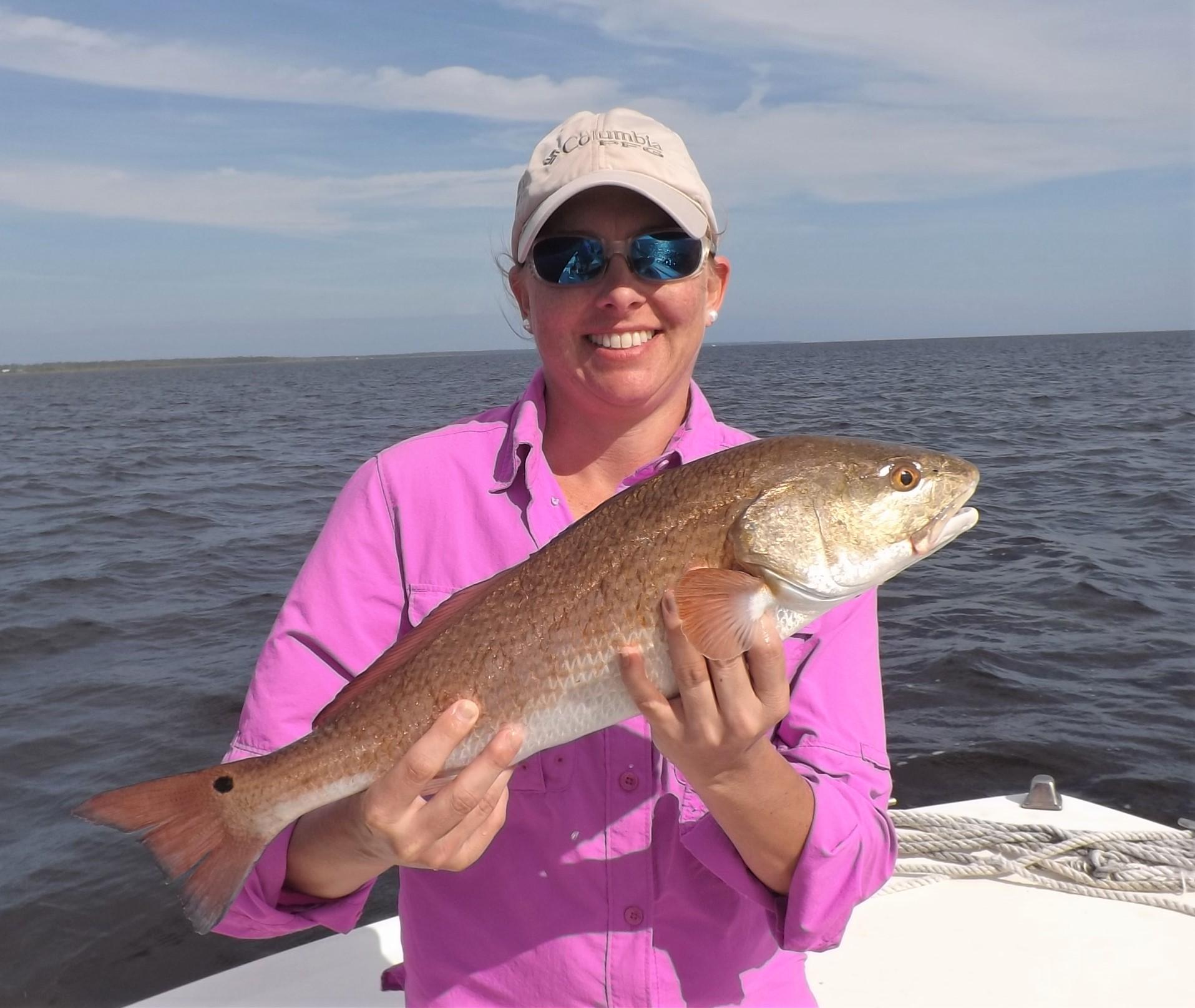 "mandy Medders first-ever redfish 24"""