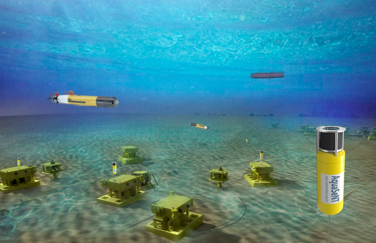 Artist's rendering of subsea fields using wireless networks and AUVs for data harvesting