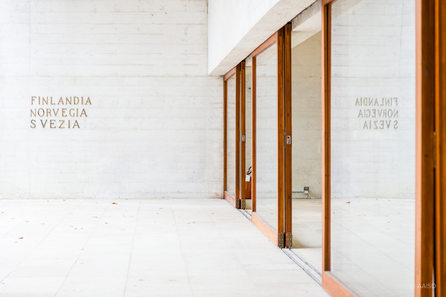 Wooden sliding doors, Nordic Pavillion for the Venice Biennale, by Norwegian Architect Sverre Fehn
