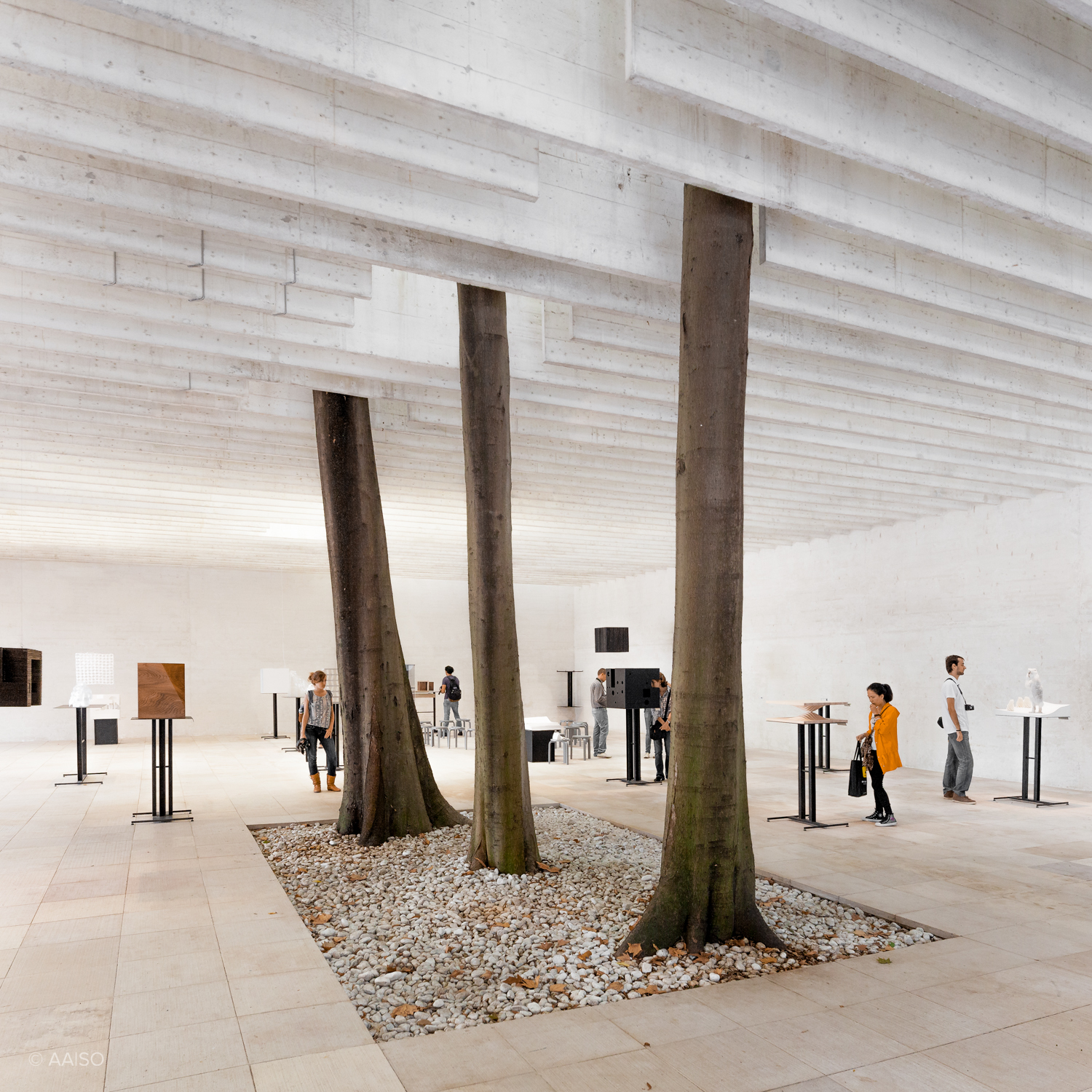 Interior view of Sverre Fehn's Nordic Pavillion, Venice