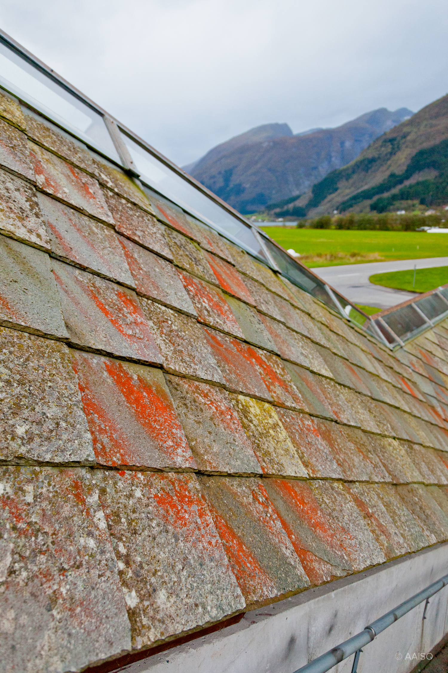 Norwegian Glacier Museum slowly becoming the moss-covered boulde