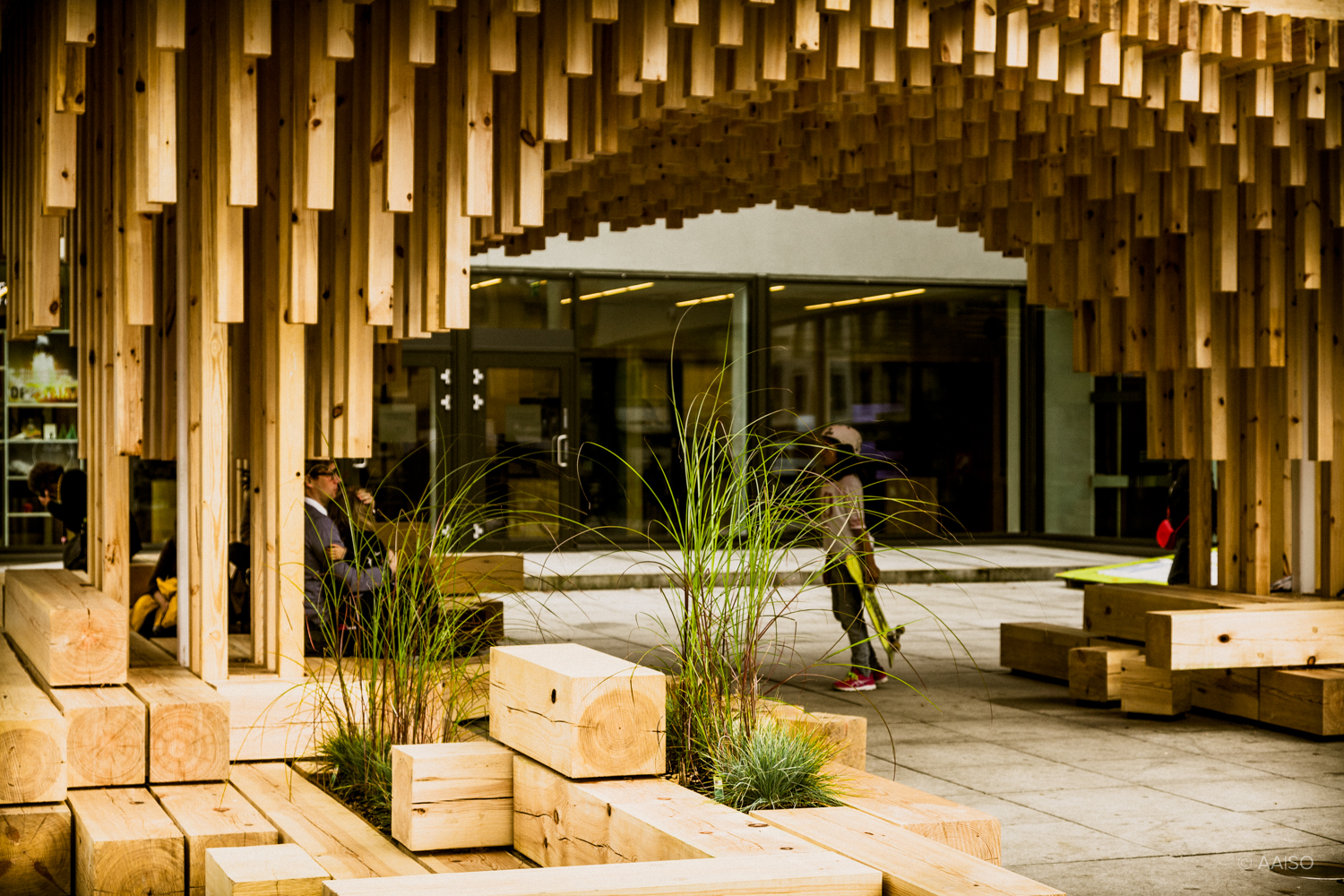 """Breathing space"", a wooden pavillion, by norwegian architecture"