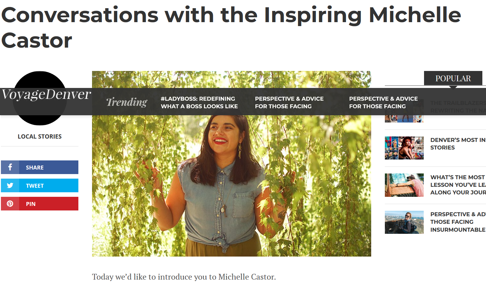 """Screenshot from Voyage Denver Article, """"Conversations with the Inspiring Michelle Castor"""""""