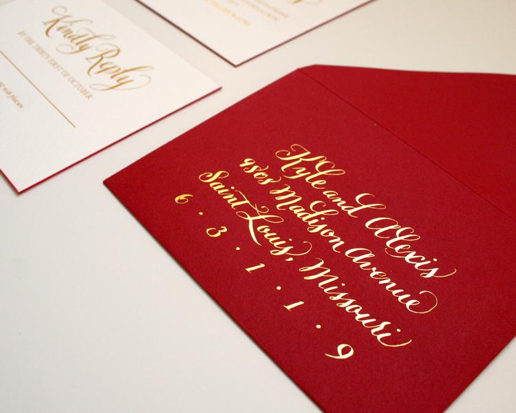 Return envelopes with gold foil