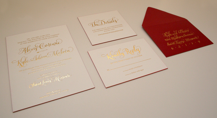 I had a great time working with the bride on this luxurious invitation suite. Cheers to the bride and groom!
