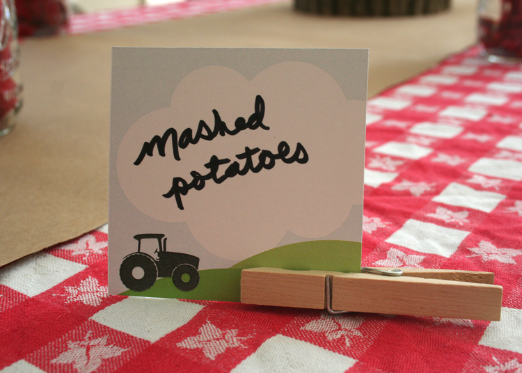 Food labels were supported by clothes pins to bring in a little more of that country feel!