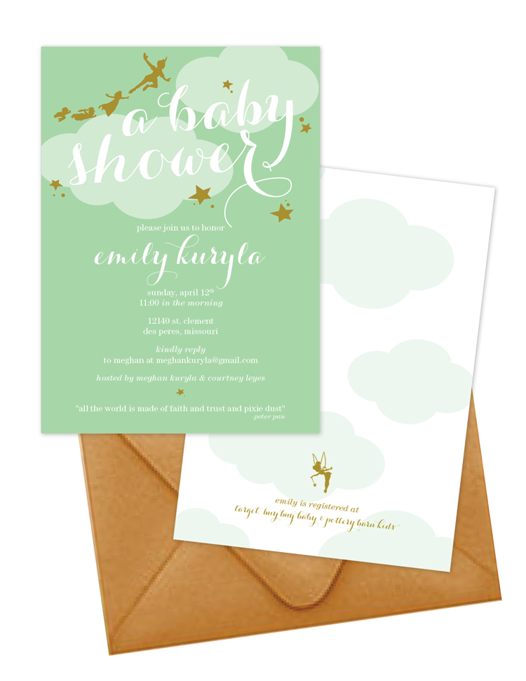 A Peter Pan themed baby shower invitation complete with Tinkerbell on the back!