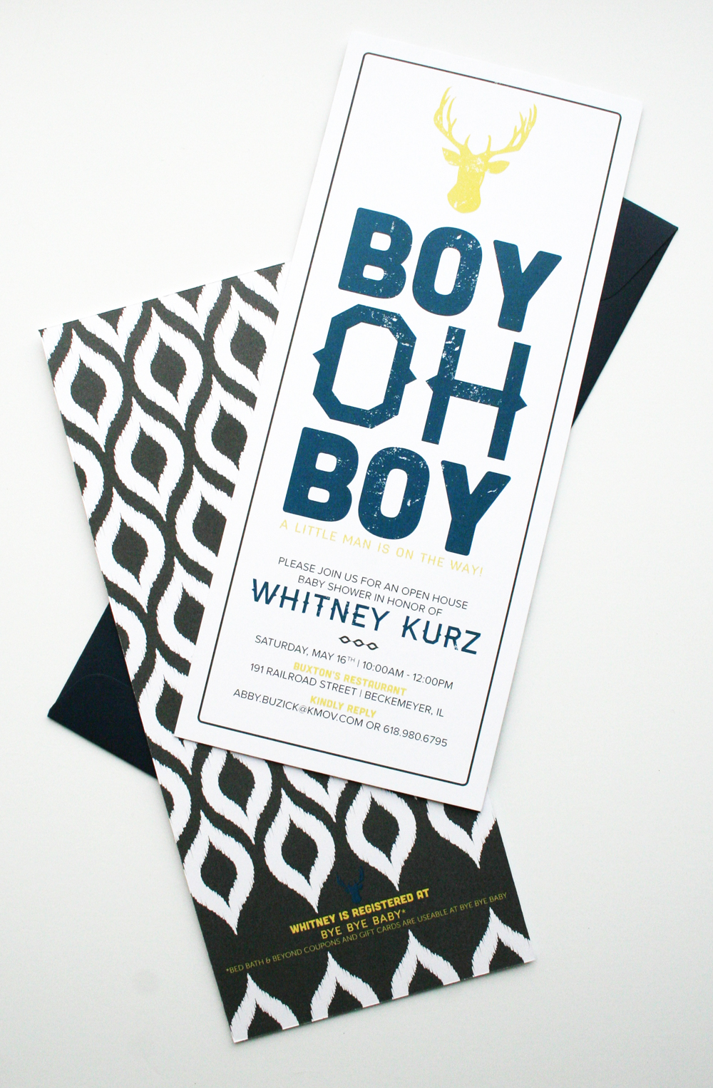 The long, rectangle shape of the invitation will make these guys stand out in the mail! The Paper Source open ended envelopes gave them a very contemporary feel.