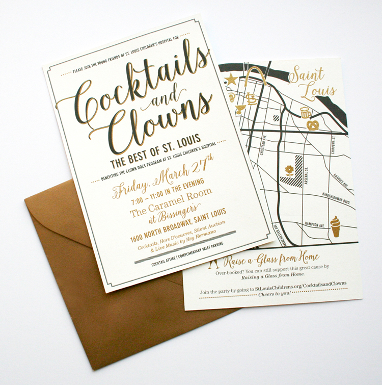 The invitations were printed in gold and black on a luxe cream paper,all sealed up in a gold shimmer envelope. The back of the invitation featured a map of the the best of St. Louis, which was the theme forthe event.
