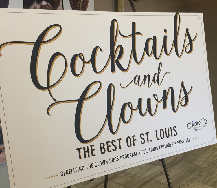 The event was held at the beautiful Caramel Room in the Bissinger's Chocolate Factory located in downtown St. Louis. This sign was placed in the lobby and welcomed everyone to the party.