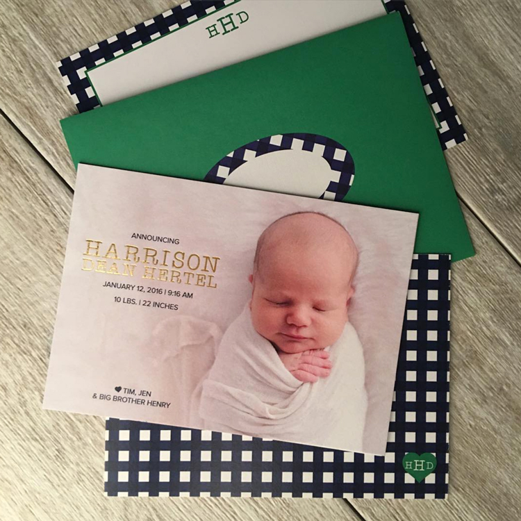 6. A stylish welcome for sweet  baby Harrison.