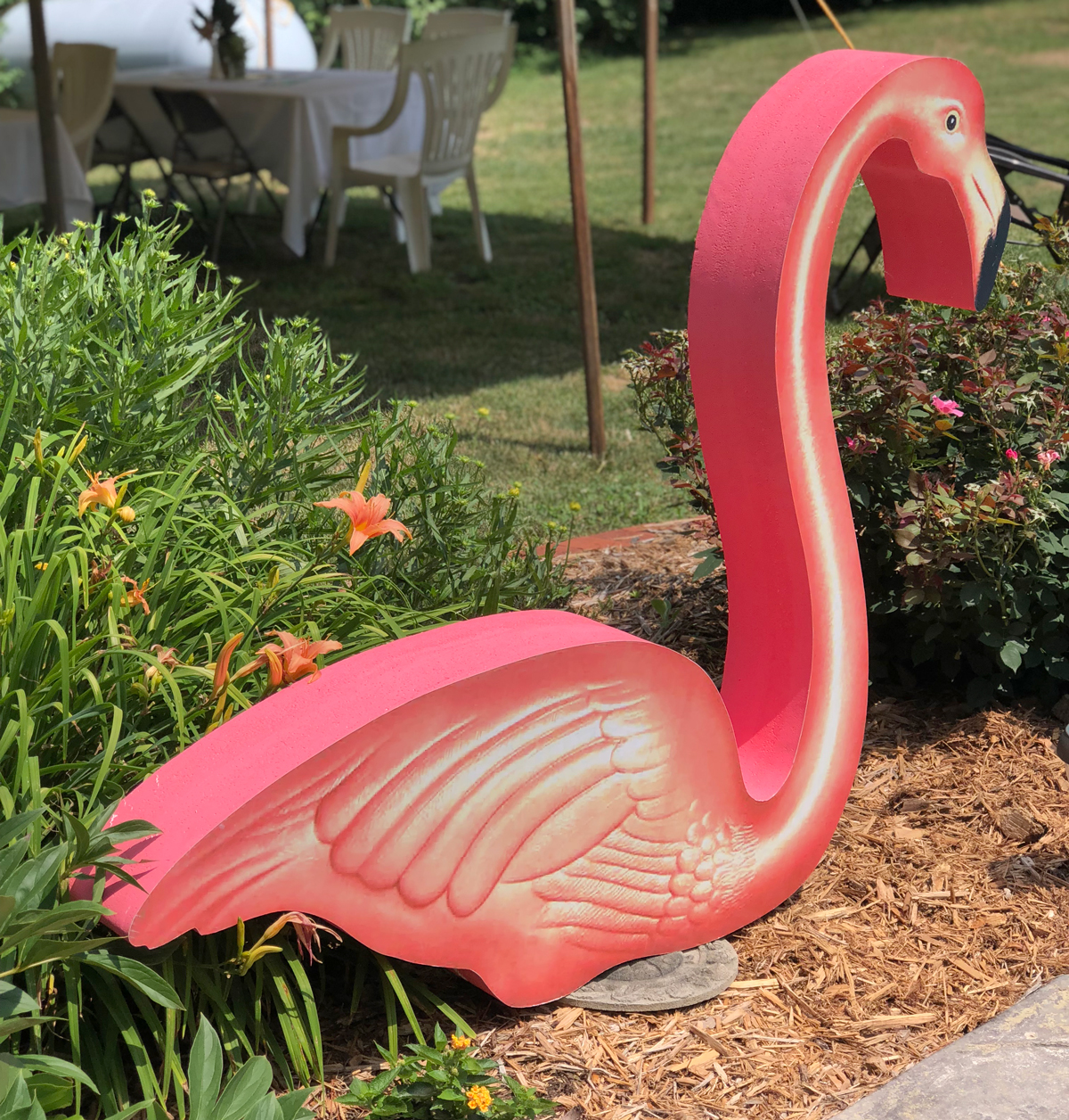 (No party is complete without busting out my giant flamingos!)
