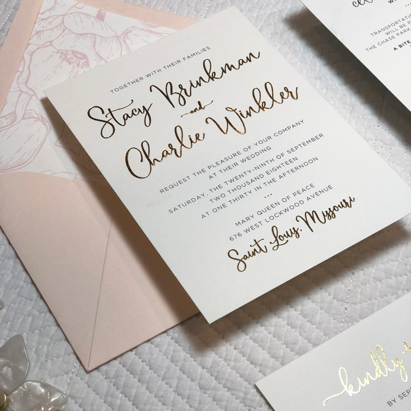 10. Stacy & Charlie's September Nuptials: I couldn't be happier with how this invitation suite turned out. Gold foil, light pink & floral patterns, oh my!