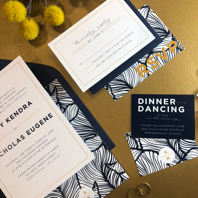 7. Abby & Nick's Wedding: Navy, gold & palms galore! This wedding suite was so much fun to work on for a childhood friend's June wedding.