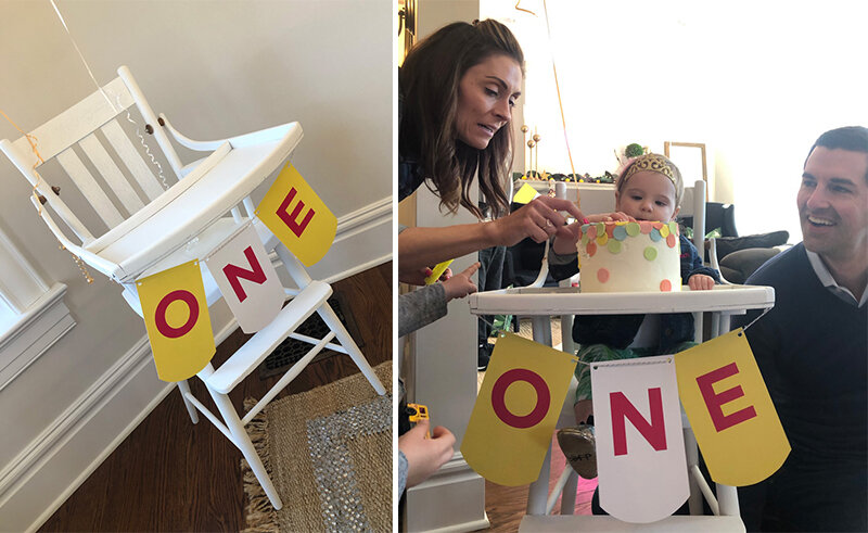 A fun fact: I found this high chair in the alley behind my house before Parker's brother, Drake's, first birthday! Glad it has found a home and so many uses!