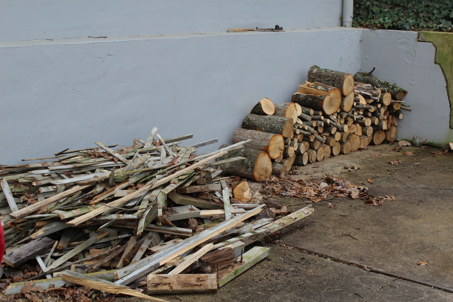Remains of the fence and the tree limb ...
