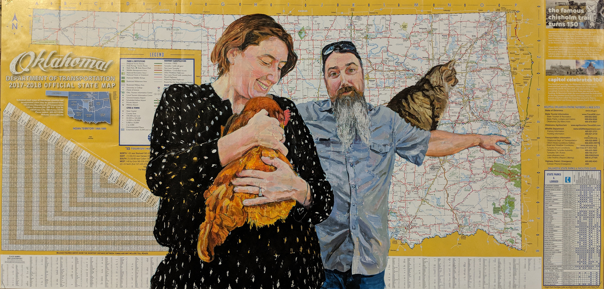 "Oklahoma Chicken Huggers (painted on a roadmap) ... 18"" x 37.5"""