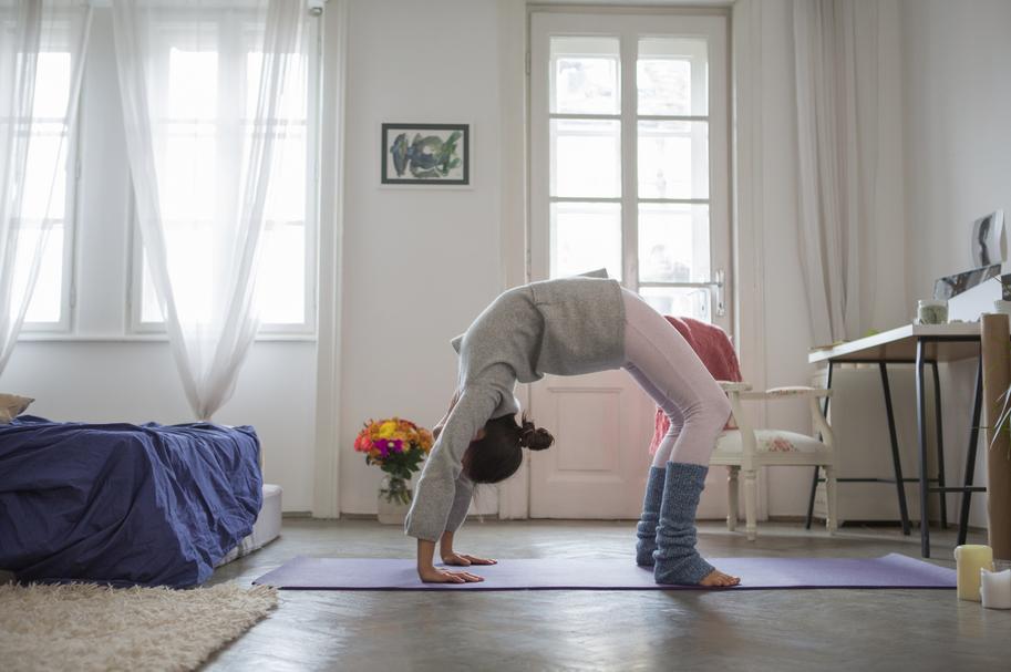 Home sweet home yoga practice. xo. See yogi in wheel pose, urdhva dhanurasana