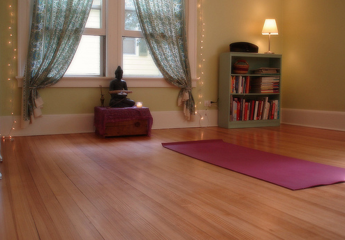 Does this inspire you? All you need is a mat, floor space, and maybe a little candle. So simple.