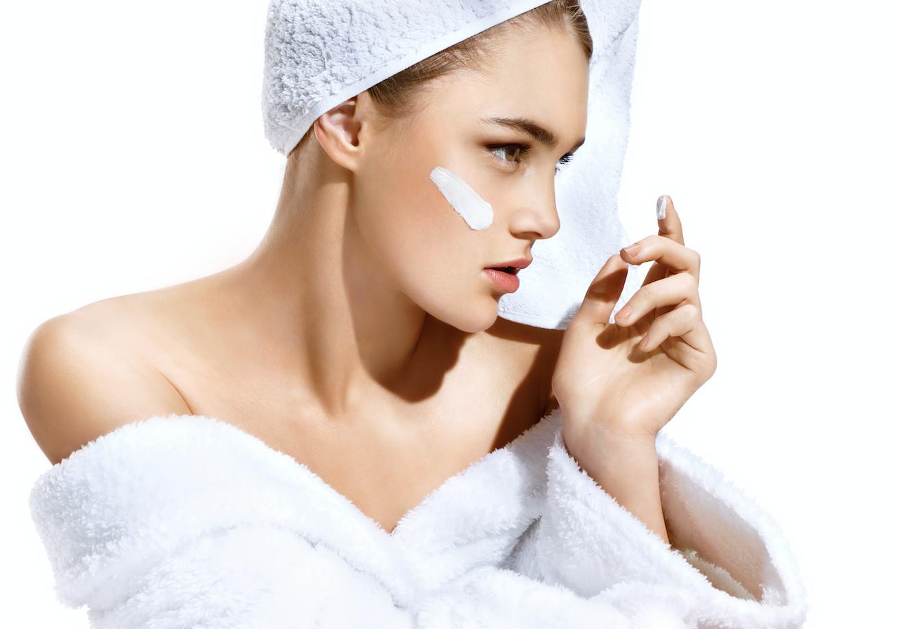 applying skin care creams,s