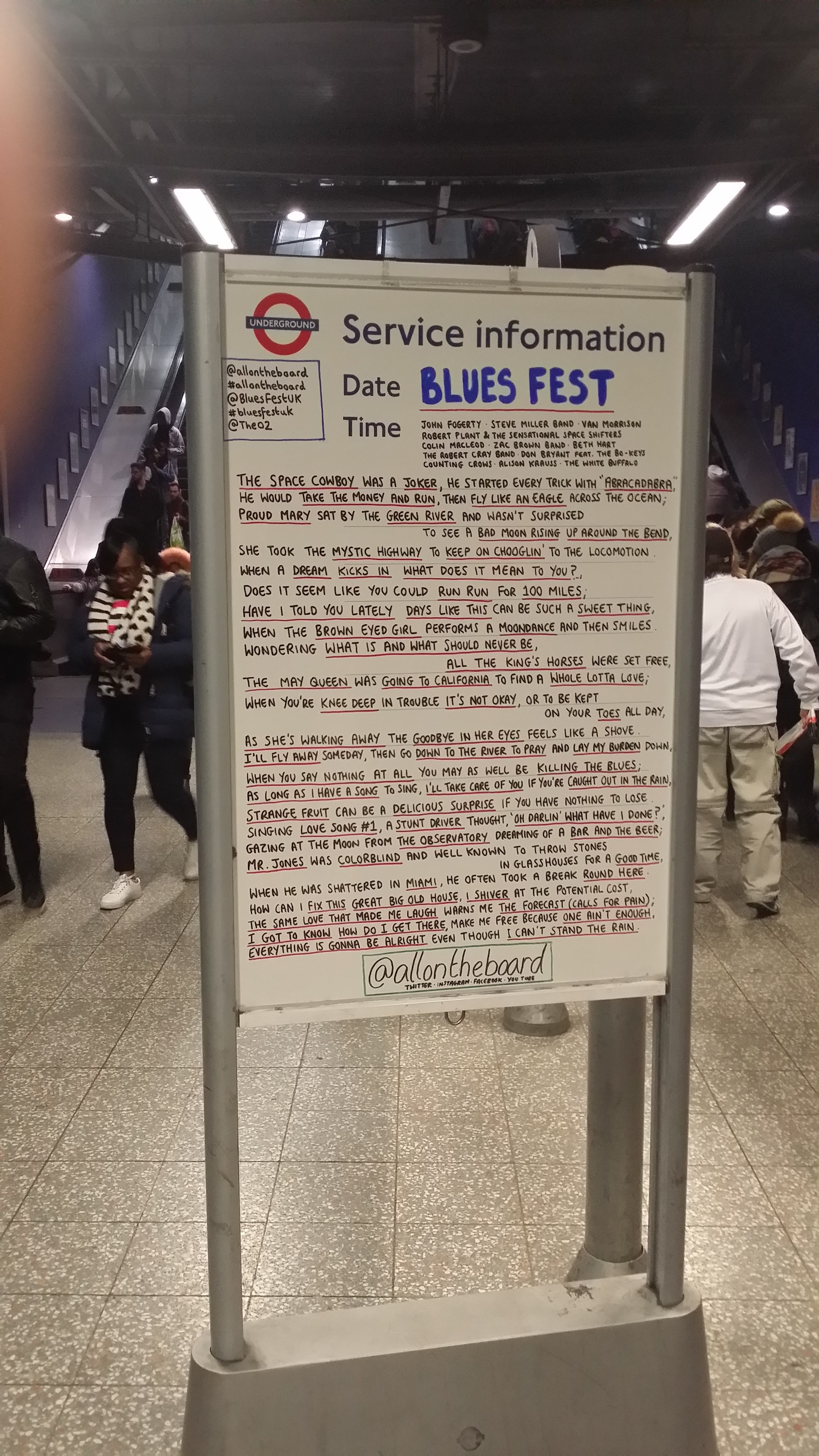 London Underground getting into the spirit of BluesFest with this impressive announcement board at North Greenwich Station.