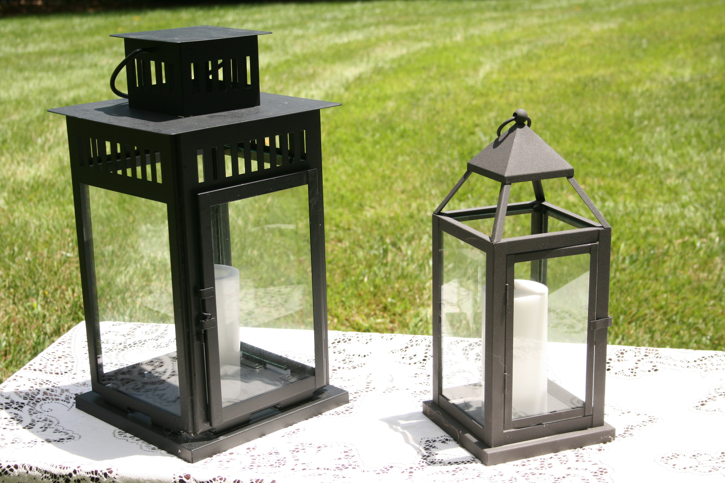 "Black Lanterns   Large 18"" - $8 each  Medium 14"" - $6 each  Small 12"" Lanterns - $4 each"