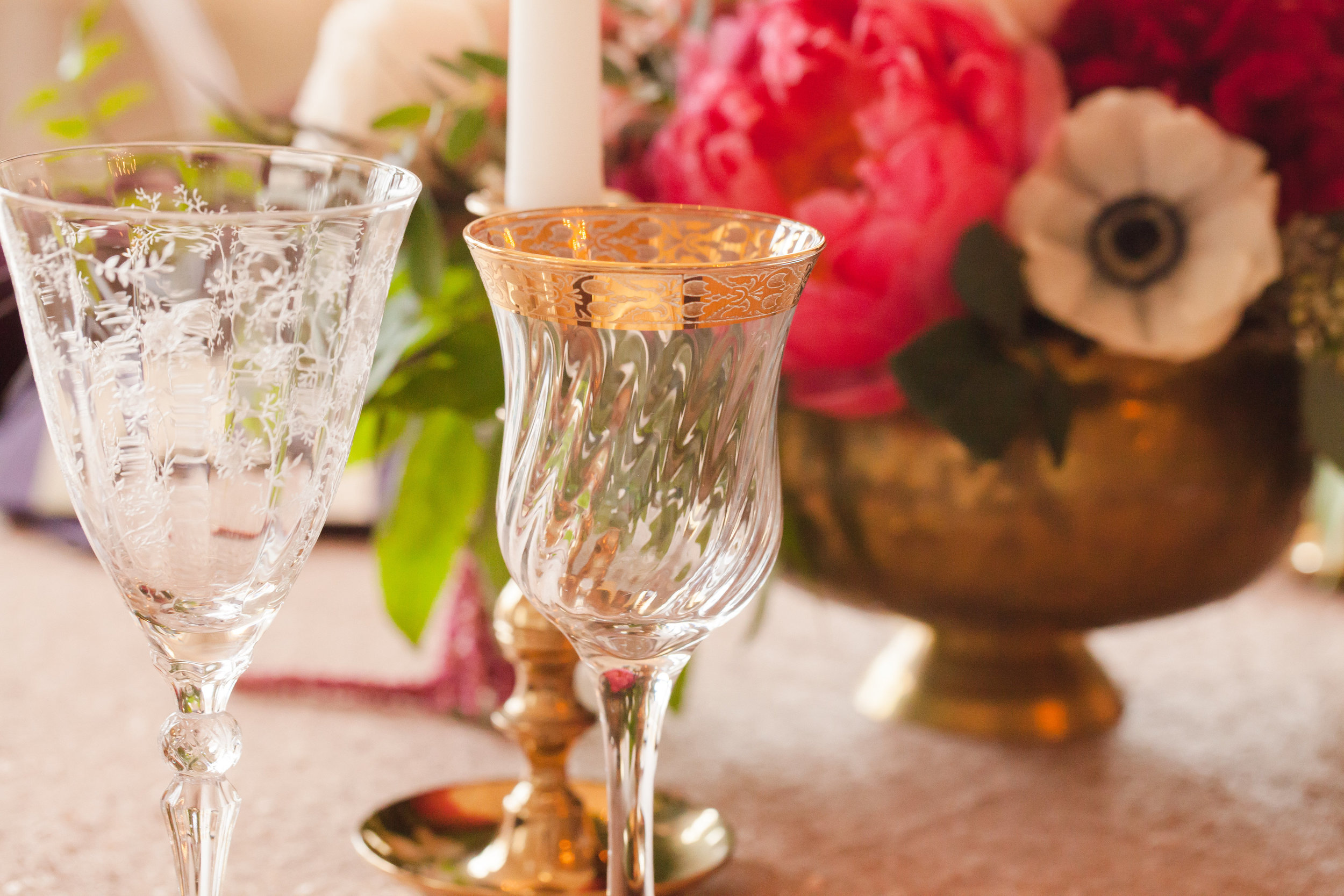 Vintage Mismatched water and wine glasses