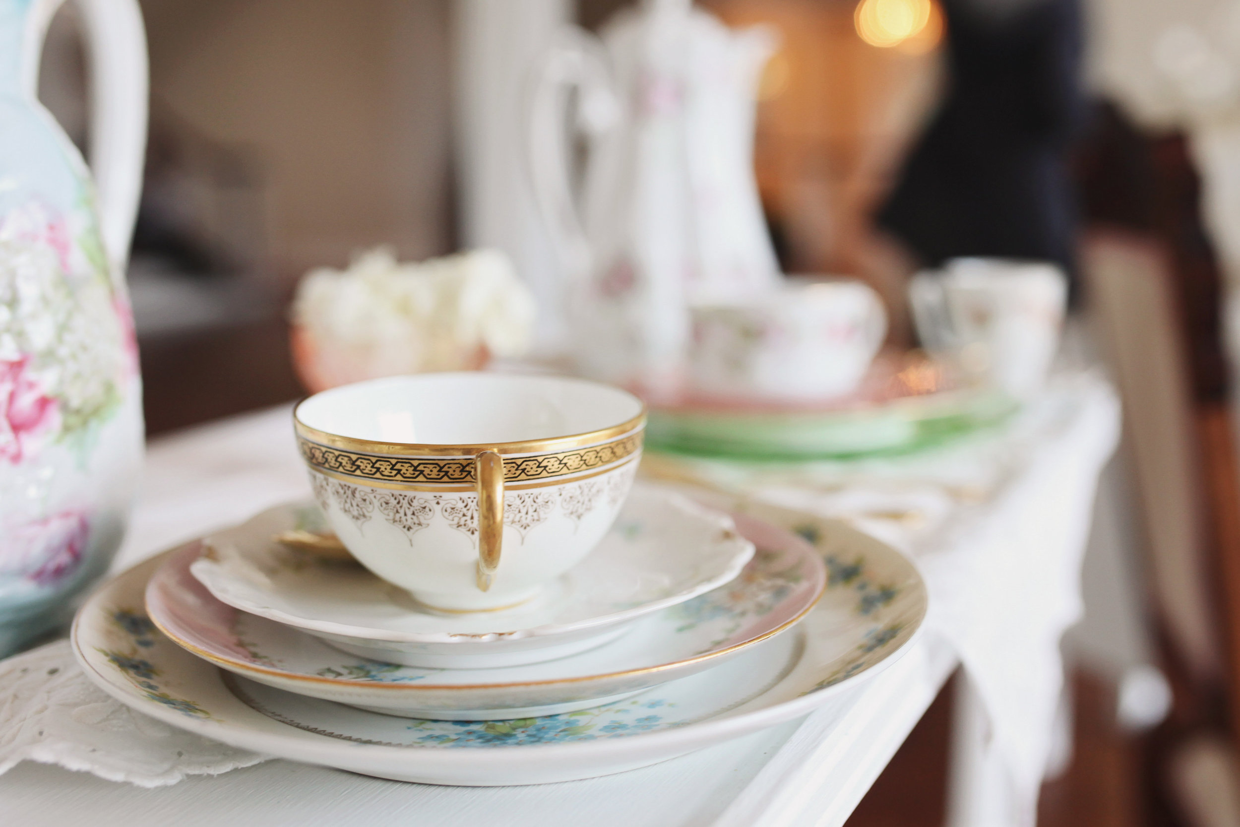 Mismatched Tea cups and plates